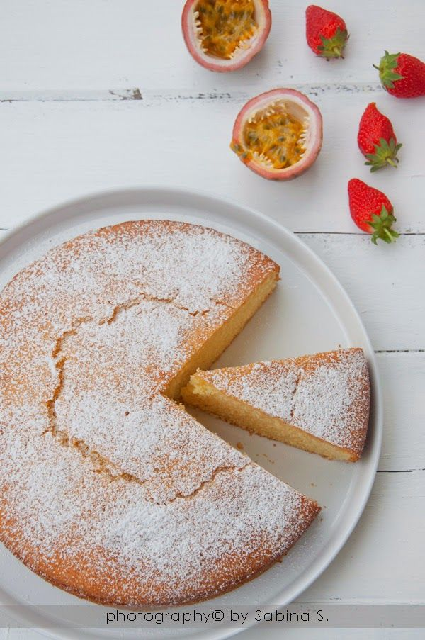 yogurt cake with passion fruit syrup