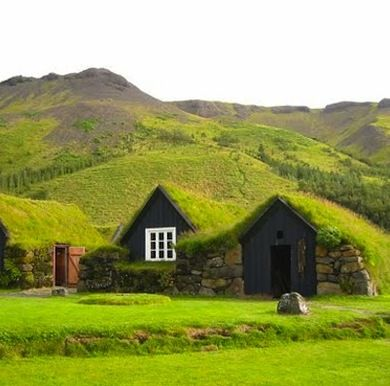 Iceland has been building these turf houses for 1,000 years. Cool in the summer and warm in the winter!