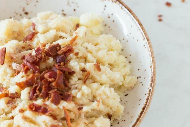Bloemkool,aardappelpuree met baconcrumble