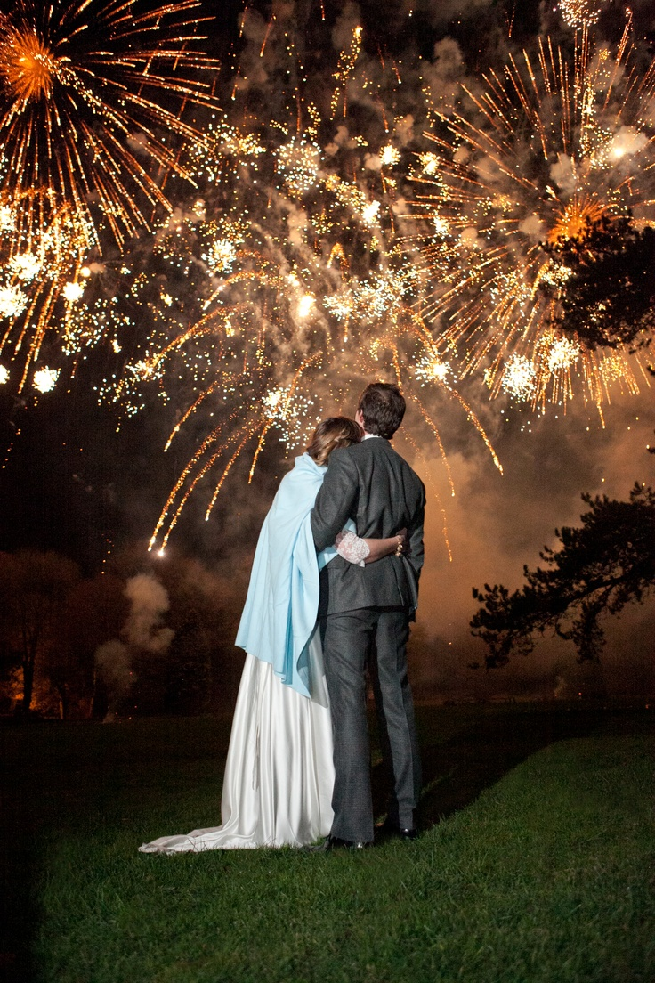Fireworks at Babington House Wedding, England  Photographer: Aaron Delesie