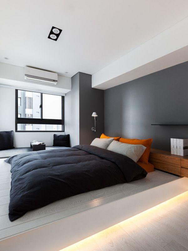 Sala de estar com grafiato quero destacar a parede cor marrom