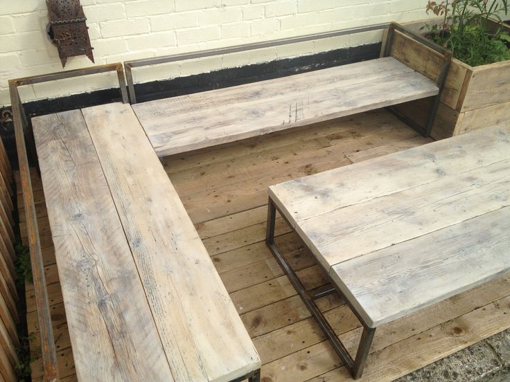 this is a two sun loungers/bench with a table made from scaffold boards by Boardworks www.bath-baordworks.co.uk