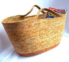 Southwestern Magazine Rack, Handmade Batik Fabric Basket, Large Tan Storage Organizer, hand wrapped and coiled fabric basket