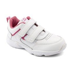 School Shoes: White/Pink Leather Girls Riptape Trainers http://www.startriteshoes.com/school-shoes