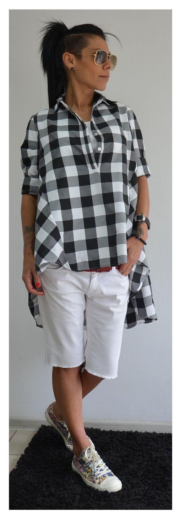 Maxi camisa negra con blanco superior / por ClothesByLockerRoom