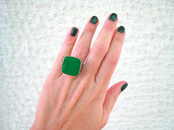 Emerald green ring green statement ring silver tone green