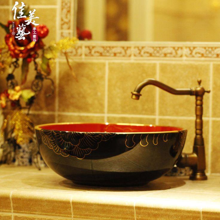 Купить товарКрасный, черный и золотой пион классический карамель искусство искусство бассейна раковина тщеславие туалетный столик искусства 1090# в категории Клапаны и шарики для бачкана AliExpress.