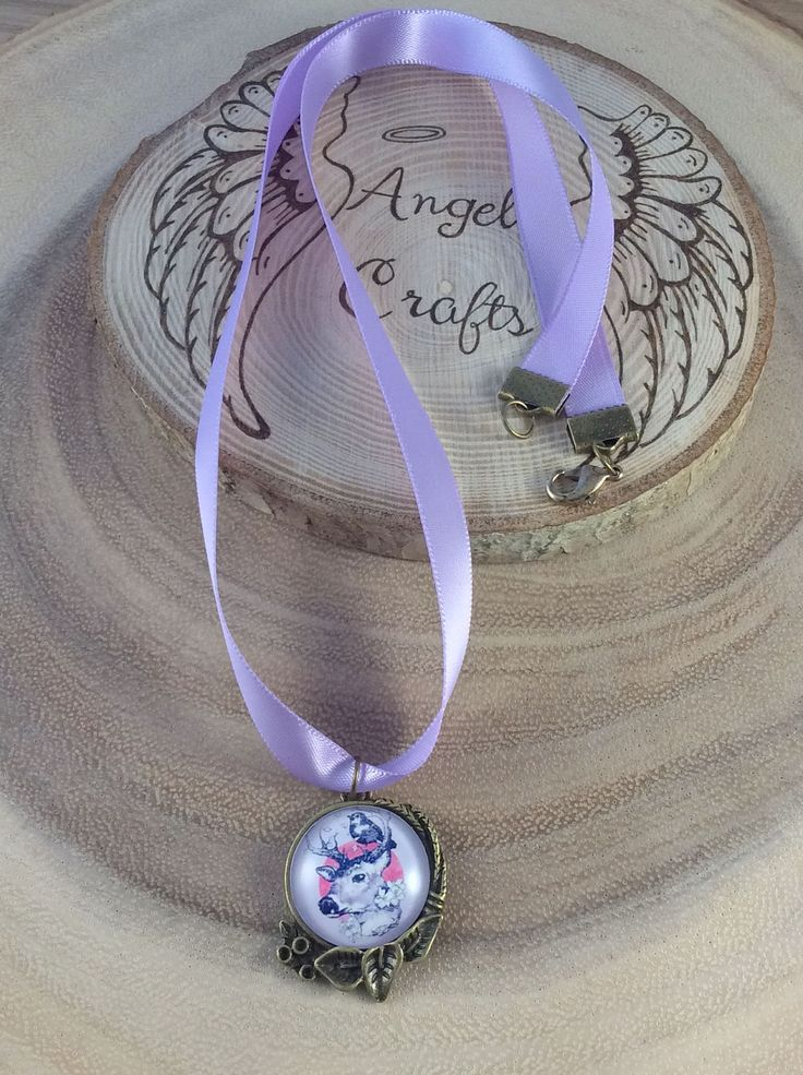 Ladies necklace, Jewellery, Spring jewellery, Lilac jewellery, Stag necklace, necklace, Satin, Brass, pagan, Wicca, nature, OOAK by Angelscrafts1 on Etsy