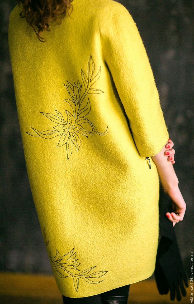 """Купить Пальто """"Лили"""" - лимонный, цветочный, пальто-кокон, пальто валяное, желтое пальто"""