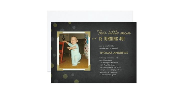 Photo surprise birthday invitations for adults. Upload an old photo and customize the wording with your party information. Preview what the finished invite will look like on screen before you order.