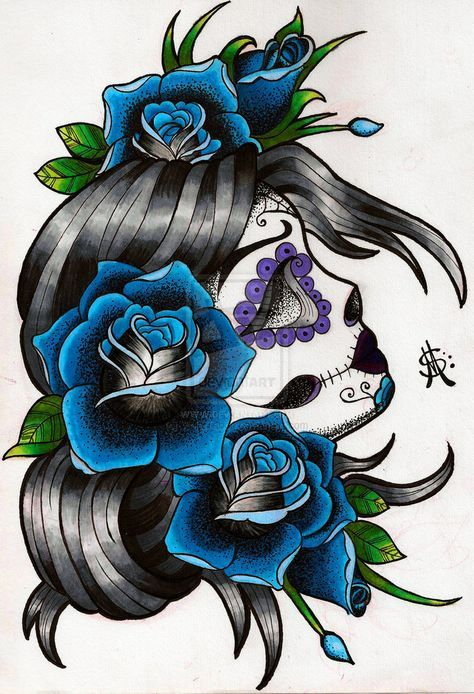 sugar skull tattoos | Sugar Skull Tattoo Flash Design by *WastelandInk on deviantART