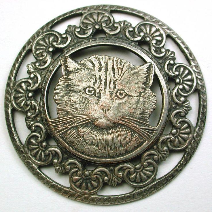 "Old French Metal Button Pretty Tabby Cat w/ Fancy Pierced Border 1  3/4""   SOLD $62.99"