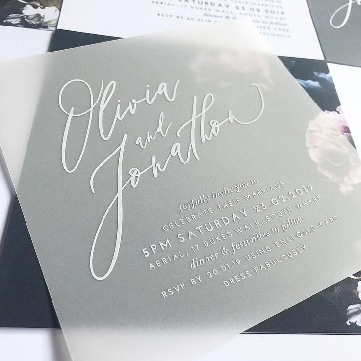 New White Ink On Transparent Vellum In Our Scripted Design We Can Print On Transpa Wedding Invitations Diy Black Wedding Invitations Cheap Wedding Invitations