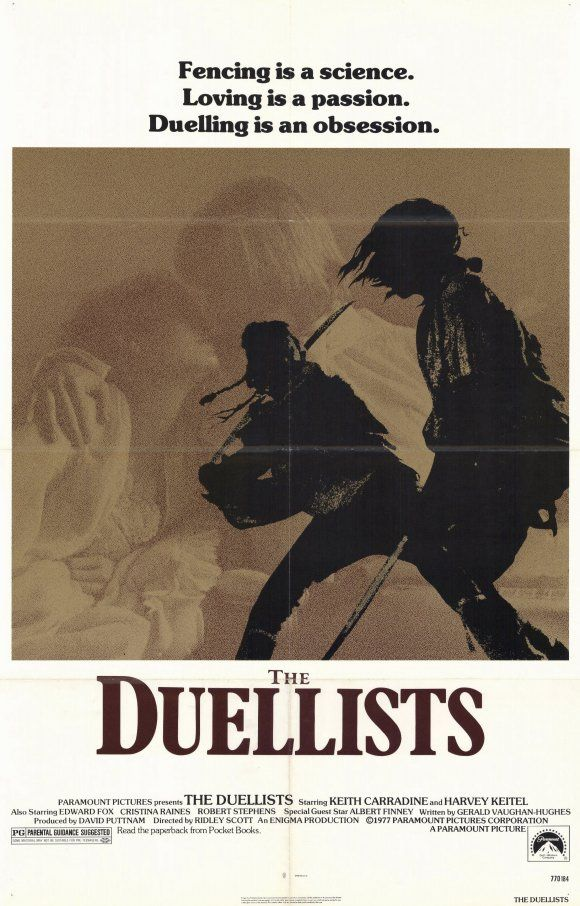 Movie poster: The Duell­ists (1977)... sword play with reality... several weapons...
