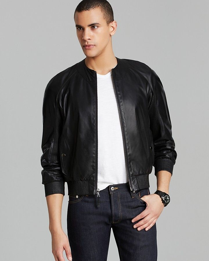 $1,825, Black Leather Bomber Jacket: Leather Bomber Jacket by Public School. Sold by Bloomingdale's. Click for more info: http://lookastic.com/men/shop_items/69612/redirect