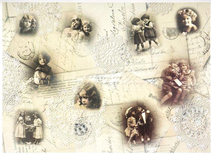 A/4 Classic Decoupage Paper Scrapbook Sheet Vintage Children
