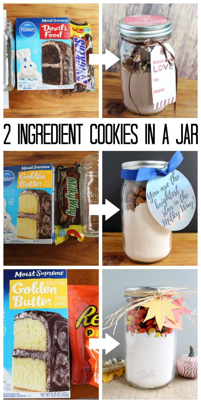Make these cookies in a jar with just 2 ingredients! A quick and easy gift idea for anytime of the year!