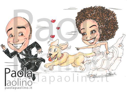 Caricatura del futuro sposo rincorso dalla sposa e dal cane della sposa! Arriveranno diritto alla cerimonia, pronti per cominciare una nuova vita insieme! www.paolapaolino.it #caricature #caricatura #caricaturista #ritrattista #illustrazione #arte #matrimonio