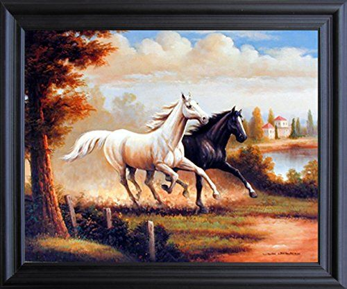 Your love for animals can now be seen on the walls of your house with this wild stallion horses running western art print framed poster. This framed poster captures the image of running two horse in all their glory is sure to bring a unique charm into your room. It would definitely a classy addition in your room décor. Your guests will definitely compliment you for your excellent taste. Its wooden espresso frame accentuates the poster mild tone.