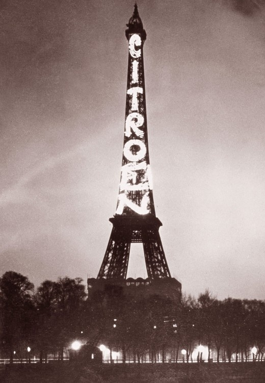'In 1925, André Citroënrented the Eiffel Tower and had the Citroënbrand name emblazoned with 125,000 incandescent lights. The sign remained in place until the company went bankrupt in 1934, partly because of the incredibly high electricity bills.'    - CBS Money Watch