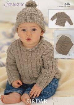 Sirdar Baby Boy Sweater Hat & Blanket Pattern Number 1648