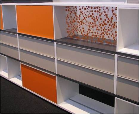 White office accented by orange… as seen at ORGATEC