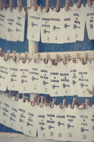 DIY Vintage Seating Chart: They created these stylish stamped seating tags and pegged them in rustic frames.   Country Chic Burlap & Lace DIY Wedding   Confetti Daydreams