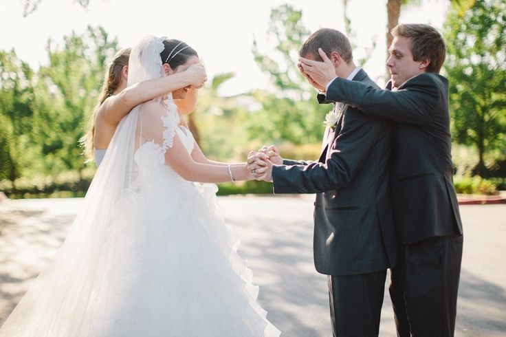 Enlist your best man for the first look. | 18 Glorious Ideas For Groomsmen Photos