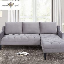Living room furniture cheap small L shaped wooden velvet fabric corner sofa