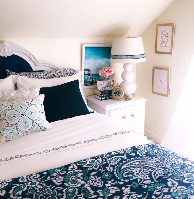 navy and gold girls bedroom decor