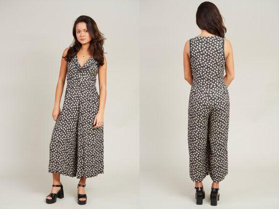 1980s Rene Derhy Black and White Floral Print Sleeveless Romper Pant Dress • M