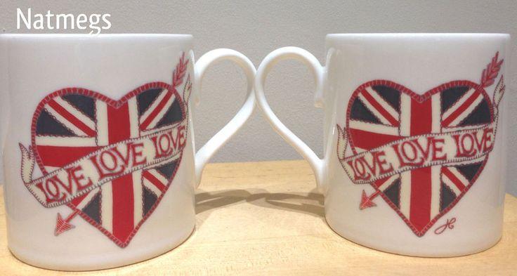 JAN CONSTANTINE~MUG~VALENTINE~LOVE HEART UNION JACK TATTOO~BONE CHINA~FREE PP UK