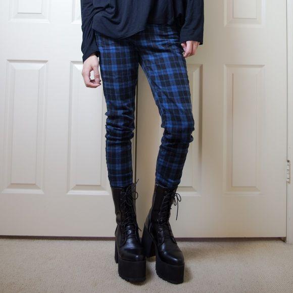 Jeans Punk Goth Blue and Black premium denim #tartan #jeans #goth Pants Skinny