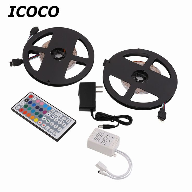 2 X 5m 3528 SMD RGB Flexible LED Light Strip 600LED White PCB Background +44 Key IR Remote Controller double side adhesive back