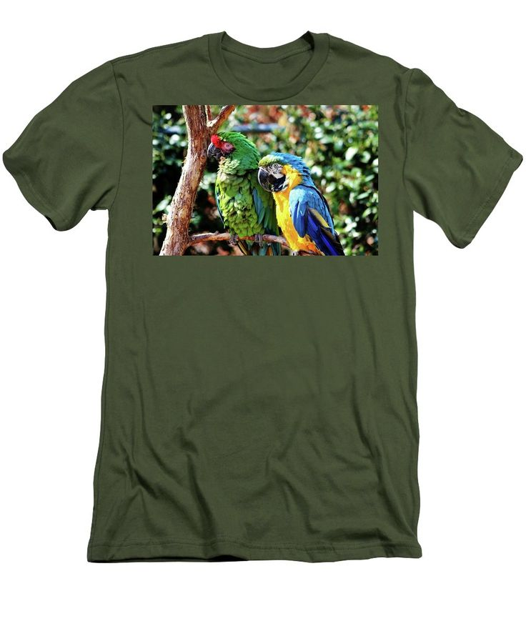 Ara Ararauna Men's T-Shirt (Athletic Fit) featuring the photograph Macaw Parrots by Cynthia Guinn