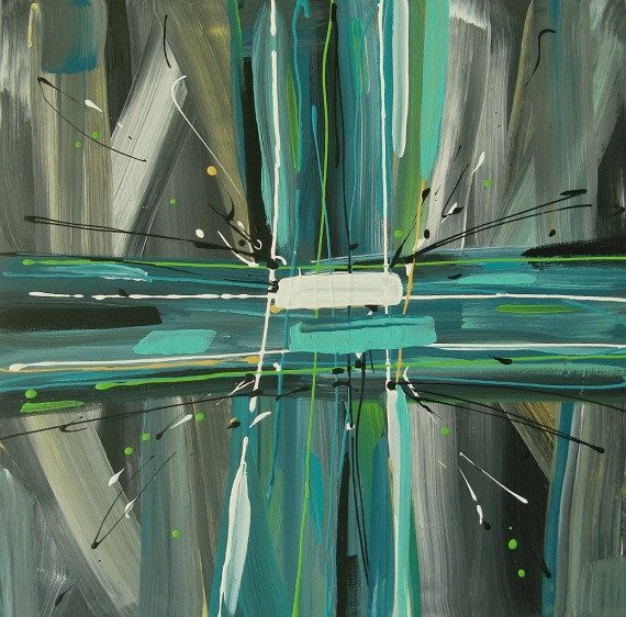 Abstract cross painting gray aqua yellow teal black white 20 x 20 canvas
