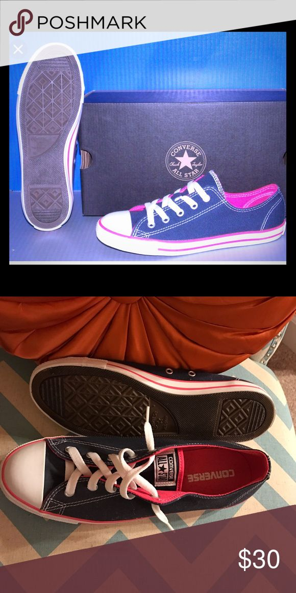 Ladies Converse Blue and pink ladies Converse. Pair with jeans for a fun look. Never worn. 2nd picture actual shoes. No box available. Converse Shoes Sneakers