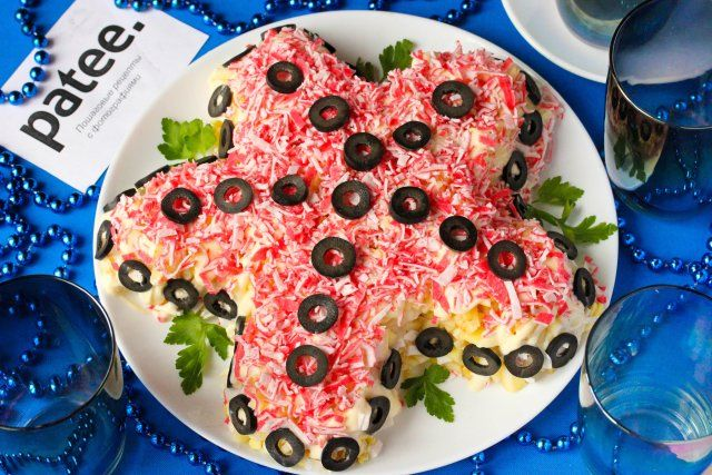 Салат с крабовыми палочками Морская звезда