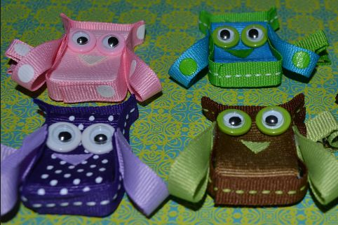 ribbon sculptures | Owl Ribbon Sculpture Hair Clip