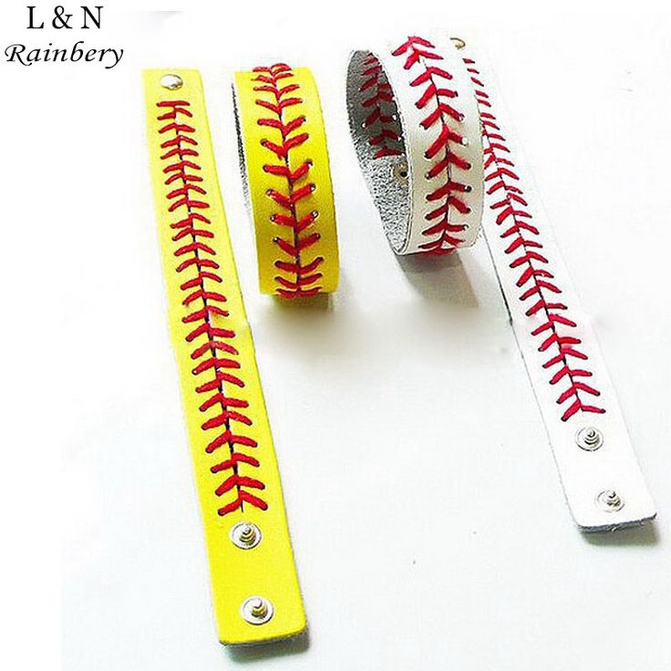 Gum For Bracelets Sport Seamed Lace Leather Bracelets Herringbone Softball Fast Pitch Baseball Stitch cuff Bracelet