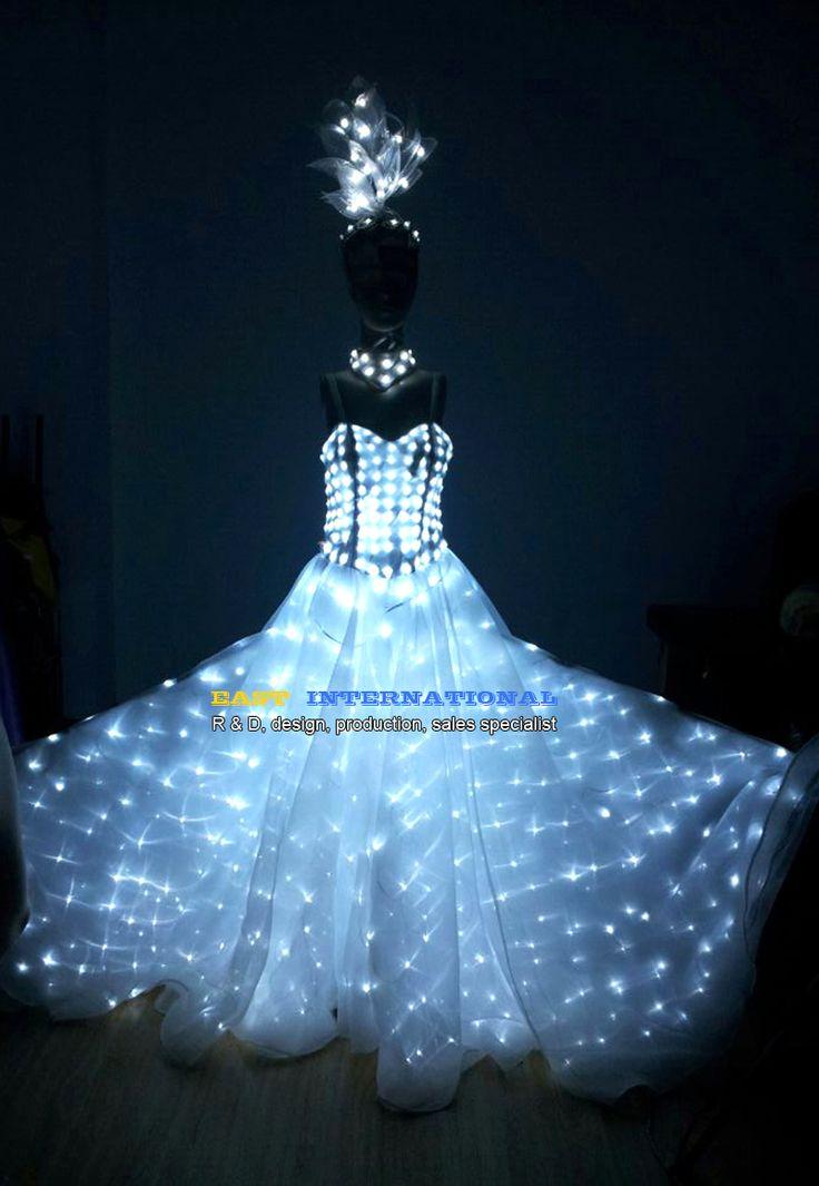 LED Clothing Luminous Dance Dress Wedding Illuminated Glowing Piranha Women Lady Costumes Suits