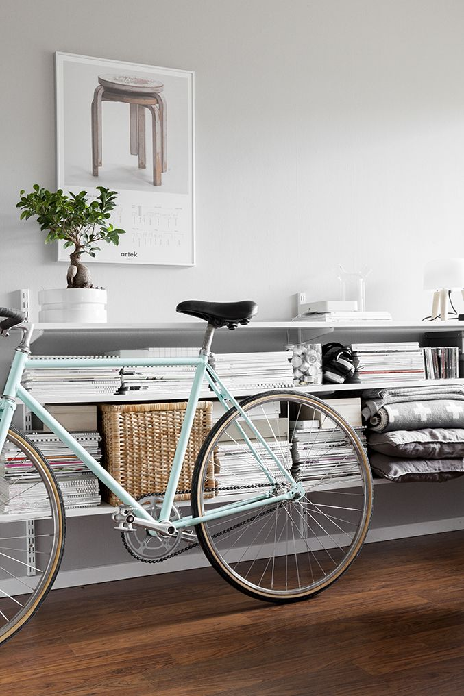 pale blue bike - in the living room, of course ;)