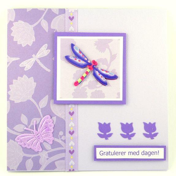 Lavendelfarget bursdagskort med øyenstikker Handmade card
