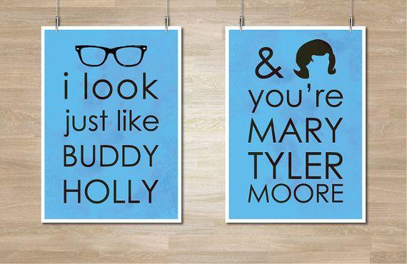 Weezer Buddy Holly Lyrics Poster Combo Set by CelebrativeDesign