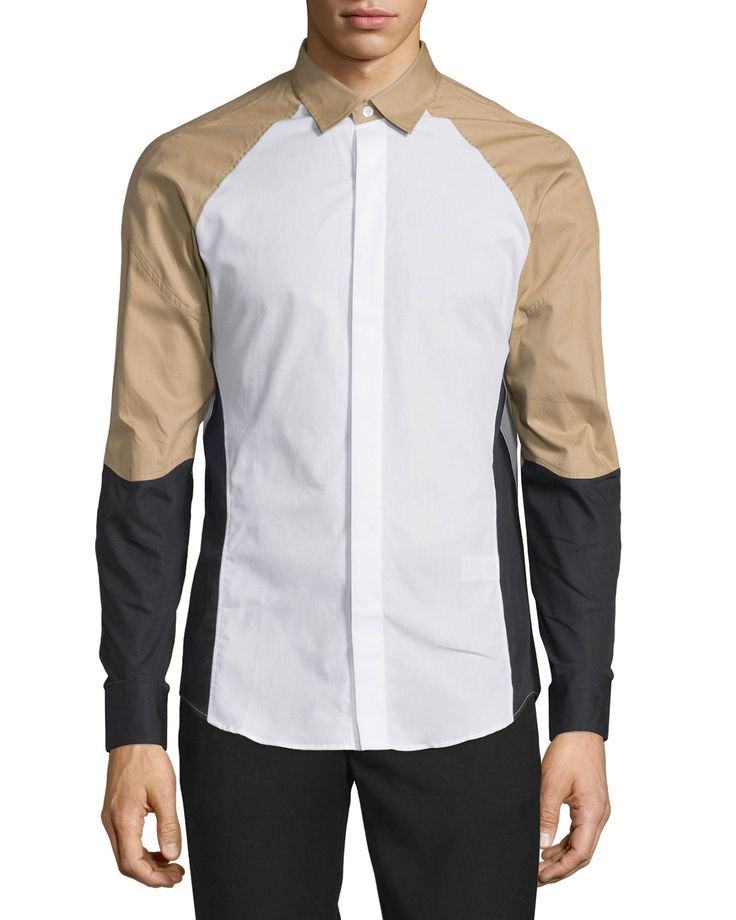 Ergo Colorblock Woven Dress Shirt, White, Men's, Size: XL - Opening Ceremony
