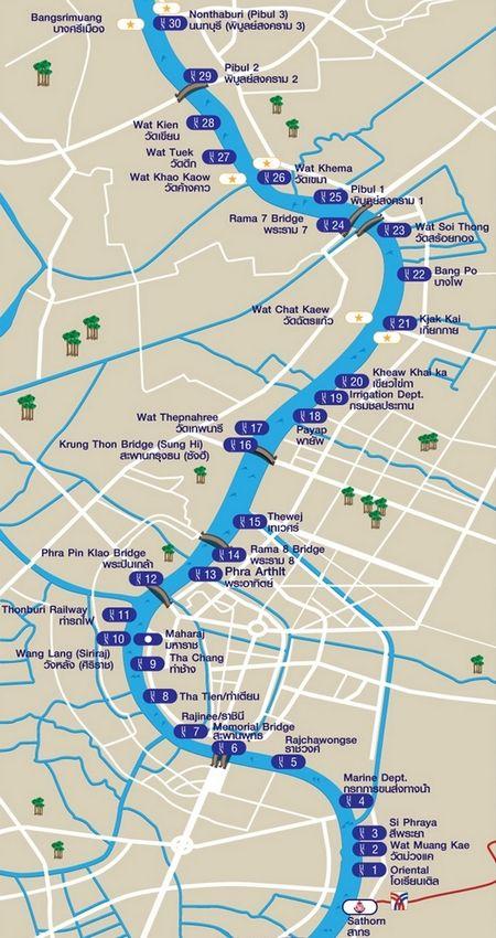 Bangkok | Chao Phraya Express Boat Map