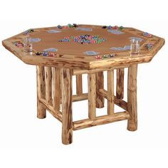 Triumph Sports USA Octagon Poker Table Rustic/log cabin
