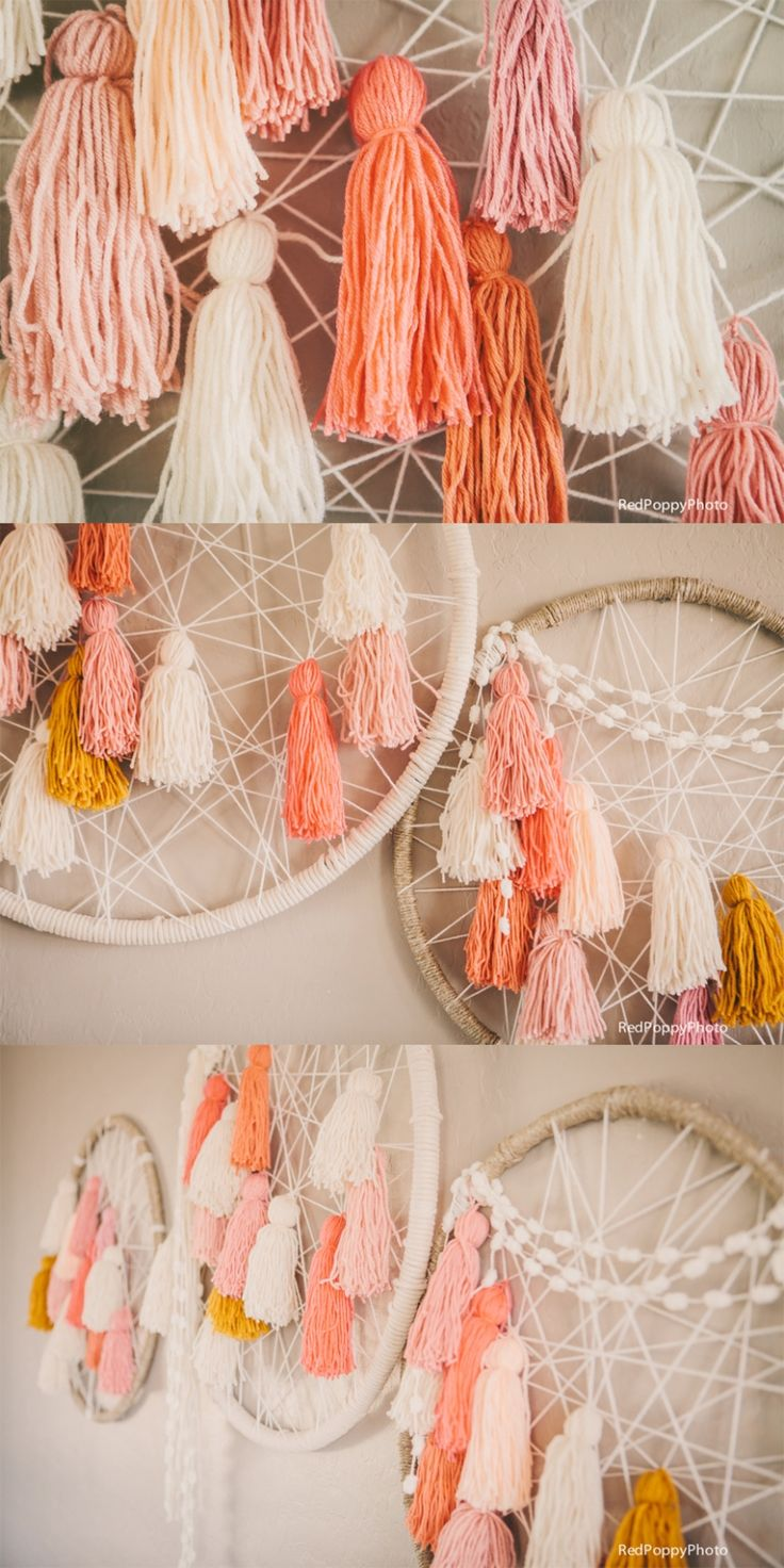 Giant Dream Catchers that we made for our event!! Maggie Holmes Be Crafty Workshop Recap: