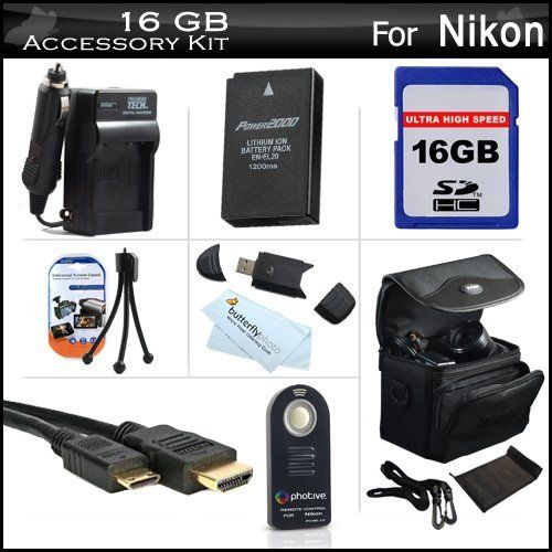 16GB Accessories Kit For Nikon 1 J1, Nikon 1 J2 Mirrorles Digital Camera Includes 16GB High Speed SD Memory Card + Extended (1200Mah) Replacement EN-EL20 Battery + Ac/DC Travel Charger + Mini HDMI Cable + Wireless Remote Control + Case + Screen Protectors by Butterfly. $44.95. Product Description This Kit Includes Some Of The Essential Accessories You Need To Take Full Advantage Of Your New Nikon 1 J1, Nikon 1 J2 Mirrorles Digital CameraKit Includes:♦ 1) Digital...