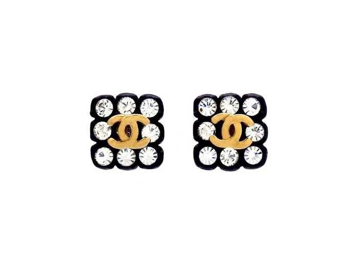 Vintage Chanel stud earrings CC logo rhinestone square  100% Authentic Chanel Product | #st626  Price